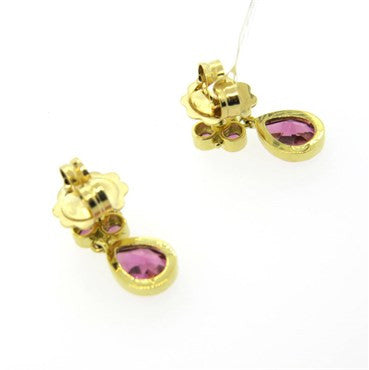 thumbnail image of New Temple St. Clair Pink Tourmaline 18k Gold Drop Earrings