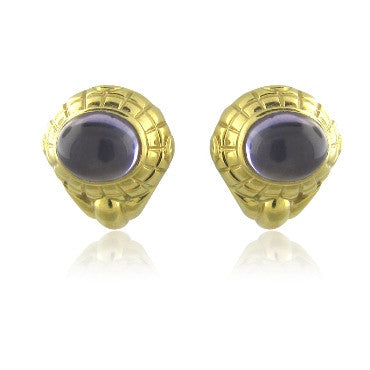 image of Vintage Tiffany & Co 18k Gold Amethyst Earrings