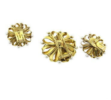 thumbnail image of Large Retro Pearl 18k Gold Brooch and Earrings Set
