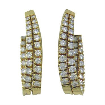 thumbnail image of Yellow 18k Gold Inside Out 3.50ct Diamond Hoop Earrings