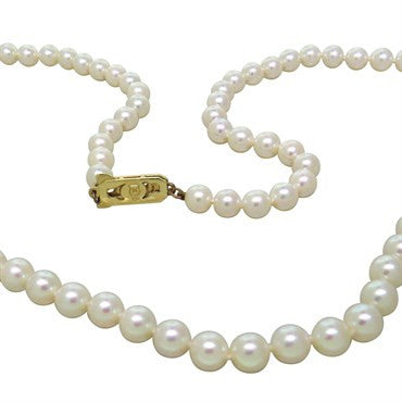 image of Vintage Mikimoto 14k Gold 6mm to 6.5mm Pearl Necklace