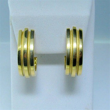 image of Estate Vintage Tiffany & Co 18k Gold Half Hoop Earrings