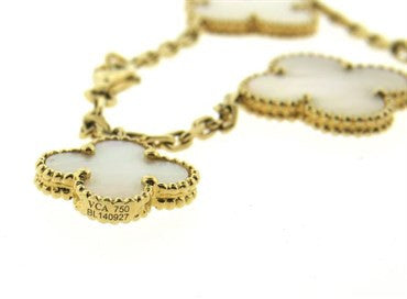 image of Van Cleef & Arpels Magic Alhambra Mother of Pearl Gold Charm Bracelet