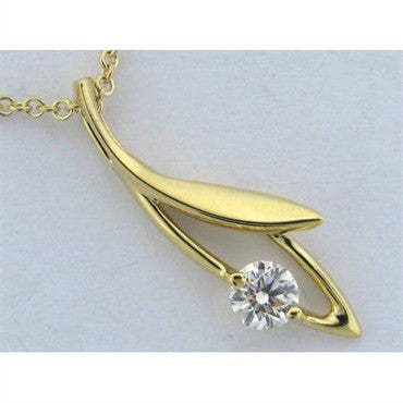 image of New Hearts On Fire 18k Yellow Gold Diamond Leaf Pendant