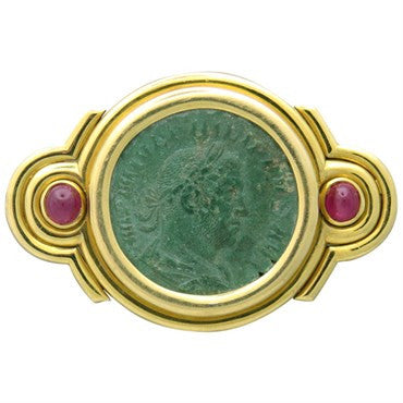 Rare Bulgari Bvlgari Ancient Coin Ruby Gold Belt Buckle