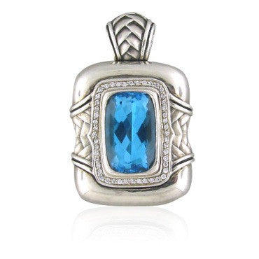 image of Scott Kay Sterling Blue Topaz Diamond Pendant