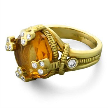image of Judith Ripka 18K Yellow Gold Diamond Citrine Ring