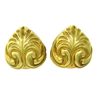 image of Elizabeth Gage Carved 18k Gold Earrings
