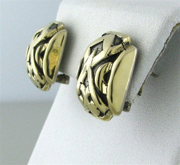 thumbnail image of Estate Jgohn Hardy Sterlin Silver 18K Gold Earrings