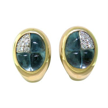 image of New Pomellato 18K Gold Diamond Aquamarine Earrings
