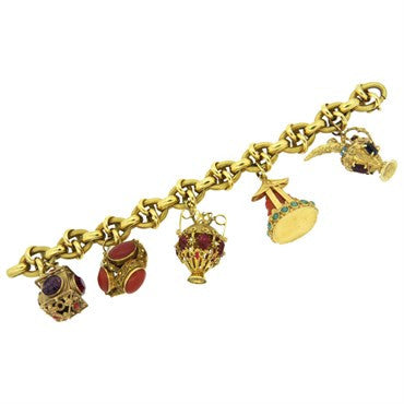 image of Antique Multi Gem Set 18K Gold Charm Bracelet