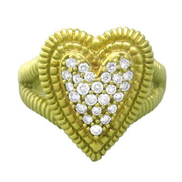 image of Judith Ripka 18k Gold Diamond Heart Ring