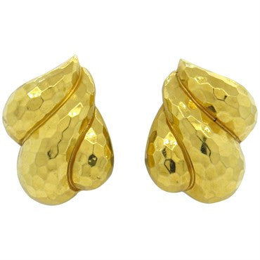 thumbnail image of Large Henry Dunay Hammered Gold Earrings