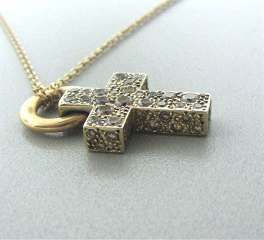 image of Pomellato Sabbia 18K Yellow Gold Brown Diamond Cross Pendant Necklace