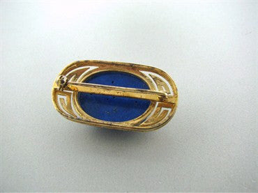 thumbnail image of Estate Gumps 14K Yellow Gold Carved Lapis Brooch Pin