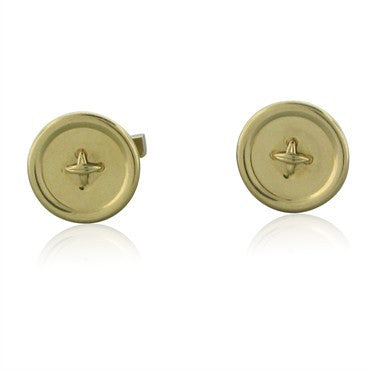 image of Vintage Tiffany & Co 14K Yellow Gold Button Motif Cufflinks
