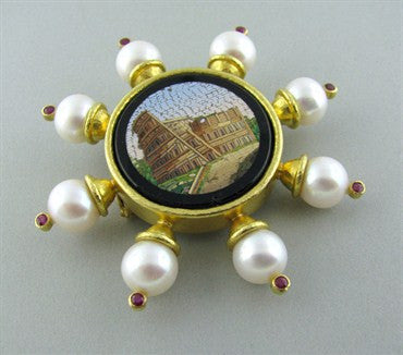 thumbnail image of Elizabeth Locke 18K Gold Micro Mosaic Ruby Pearl Brooch Pin