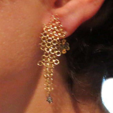 thumbnail image of Diane Von Furstenberg for H Stern Diamond Gold Diamond Star Earrings