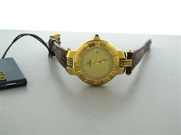 image of New Fendi Womens Petite Leather Gold Dial Watch F96252