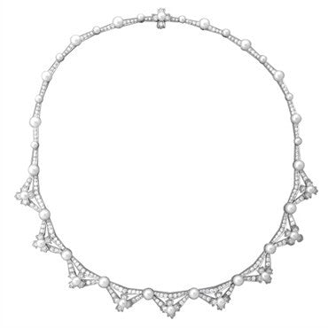image of Tiffany & Co Platinum 5.00ctw Diamond Pearl Necklace