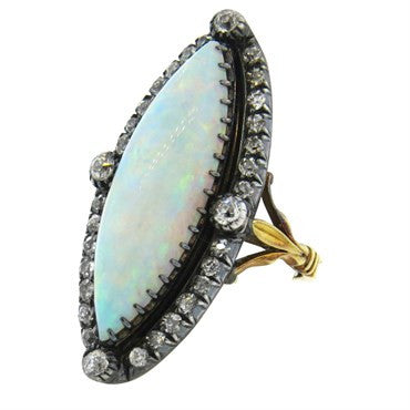 image of Antique Gold and Silver Opal Diamond Ring