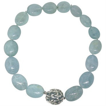 image of Cathy Waterman Aquamarine Bead Diamond Platinum Necklace