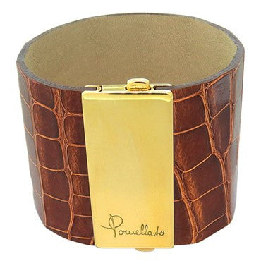 thumbnail image of New Pomellato 18k Gold Brown Leather Wide Bracelet