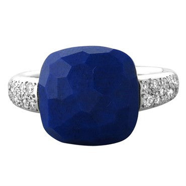 image of New Pomellato Capri 18k Gold Diamond Lapis Ring