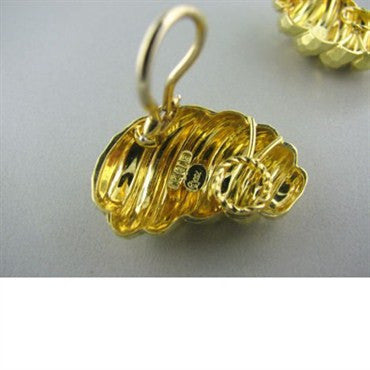 thumbnail image of Estate Henry Dunay 18k Hammered Gold Earrings