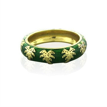 thumbnail image of Hidalgo 18K Yellow Gold Green Enamel Palm Tree Pattern Band Ring