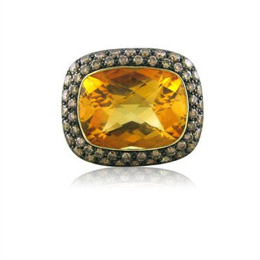 thumbnail image of Modern 18K Yellow Gold 11.98ct Citrine Fancy Diamond Cocktail Ring