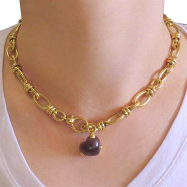 thumbnail image of Pomellato Garnet Cabochon Charm Gold Link Necklace