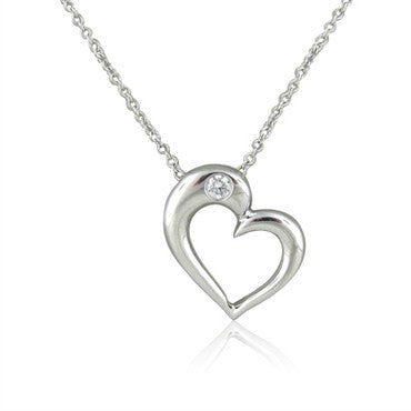image of New Hearts On Fire Amorous Sculpted Heart Diamond Pendant Necklace