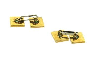 thumbnail image of Mid Century Emerald 18k Gold Square Cufflinks