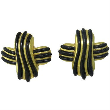 image of 1980s Angela Cummings Gold Black Jade Earrings