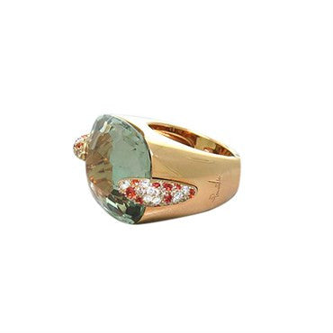 image of New Pomellato Pin Up 18k Gold 1.06ctw Diamond Blue Topaz Ring