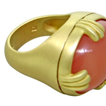 thumbnail image of Slane & Slane 18K Gold Peach Moonstone Dome Ring