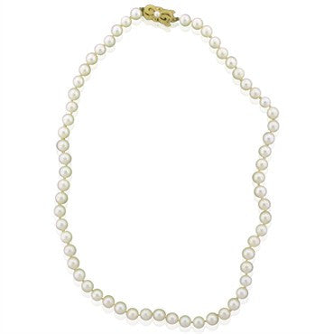 thumbnail image of Mikimoto 18K Yellow Gold 6.5mm 7mm Pearl Necklace