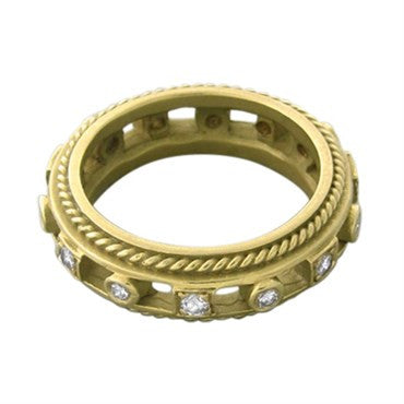 thumbnail image of Estate Penny Preville 18K Yellow Gold Diamond Band Ring