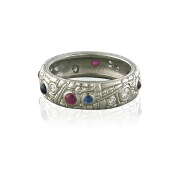 image of Alex Sepkus Platinum Sapphire Ruby Diamond Band Ring