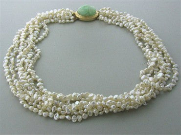thumbnail image of Estate Gumps Gump 14K Gold Pearl Carved Jade Multi Strand Necklace