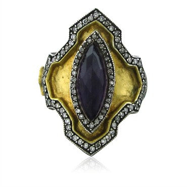 thumbnail image of Sevan Bicakci 24K Yellow Gold Sterling Silver Amethyst Diamond Ring