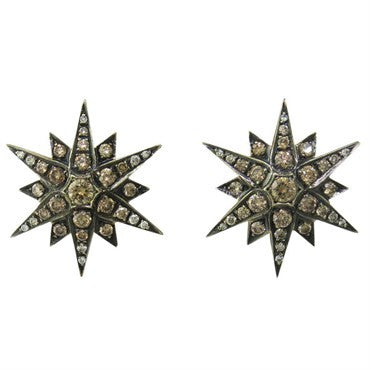 image of Large H Stern Gold Fancy Diamond Star Earrings