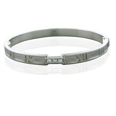 image of Tiffany & Co Atlas Hinged 18K White Gold Diamond Bangle Bracelet