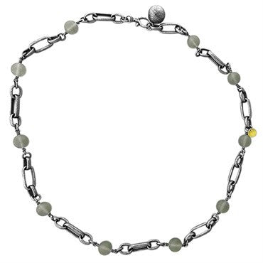 image of Gurhan Blackened Sterling Silver Frosted Quartz Link Chain Necklace