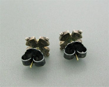 thumbnail image of Estate Konstantino Sterling Silver 18k Yellow Gold Diamond Earrings