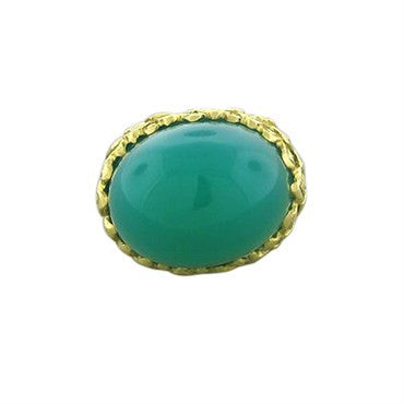 thumbnail image of David Webb 18K Yellow Gold Green Agate Cabochon Large Ring