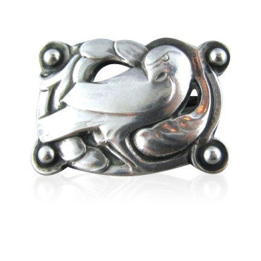image of Vintage Georg Jensen 830 Silver Bird Brooch Early Mark