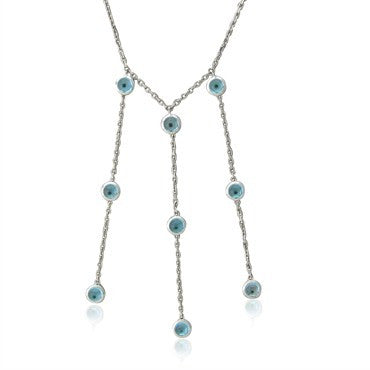 image of Gucci 18K White Gold Blue Topaz Drop Pendant Necklace
