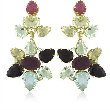 image of H. Stern Harmony Collection 18K Gold Diamond Ruby Gemstone Earrings
